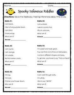 FREE Spooky Inference Riddles for Halloween