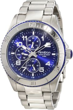 Armitron Men's 20/4810BLSV Bezel Blue Dial Silver-Tone Multi-Function Watch * Click on the watch for additional details.