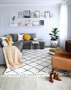 New Living Room Grey Mustard Floors Ideas Living Room Scandinavian, Cozy Living Rooms, Living Room Carpet, Home Living Room, Living Room Furniture, Living Room Decor, Dining Room, Apartment Living, Living Area