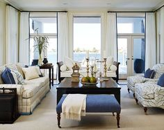 Blue & White Rooms and Very Affordable Blue & White Furniture / Accessories White Furniture, Living Room Furniture, Living Room Decor, Living Room Designs, Living Spaces, Living Rooms, Condo Living, Porches, White Rooms