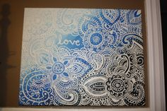 Boho Henna Print over Colors blending with Keyword at Center Acrylic Canvas Painting on Etsy, $20.00