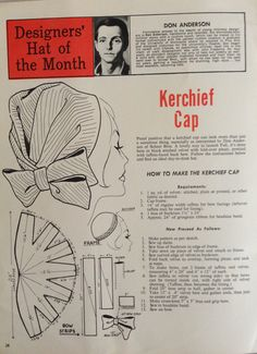 Hats magazine shares an easy pattern for this 1960's classic cover up cap.