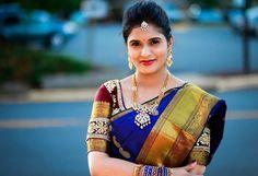 South Indian bride. Gold temple bridal jewelry. Jhumkis.Navy blue kanchipuram sari with contrast maroon blouse.Braid with fresh jasmine flowers. Tamil bride. Telugu bride. Kannada bride. Hindu bride. Malayalee bride.Kerala bride.South Indian wedding