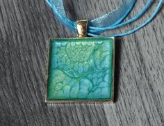 Emerald Green and Turquoise Hand-painted Square Pendant Necklace - Hand-painted Wearable Art - Nature Jewelry - OOAK Necklace - Modern Art by KayBejeweled on Etsy
