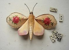Moth made from rescued vintage sampler by Mister Finch #embroidery