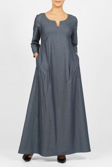 Our effortless maxi dress flows gracefully from a seamed empire waist into a full length hem that is fashioned from breathable cotton chambray. Abaya Fashion, Boho Fashion, Fashion Dresses, Steampunk Fashion, Gothic Fashion, Casual Dress Outfits, Dressy Dresses, Long African Dresses, Ethno Style