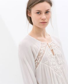 Image 5 of BLOUSE WITH EMBROIDERED FRONT from Zara