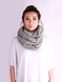 knit cowl Loop Scarf buttoned Scarfcircle by GoKnitsDotCom on Etsy