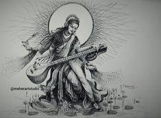 Dark Art Drawings, Art Drawings Beautiful, Pencil Art Drawings, Art Drawings Sketches, Doodle Drawings, Hindu Art, Shiva Art, Krishna Art, Art Forms Of India