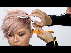 Pixie Haircut Tutorial Plus Bonus Pink Hair Color How To Pixie Hair Color, Wavy Pixie Cut, Hair Color Pink, Pixie Updo, Pixie Cuts, Pixie Haircut Styles, Short Pixie Haircuts, Short Hair Cuts, Short Hair Styles