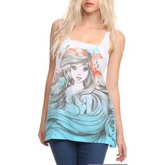 Disney The Little Mermaid Ariel Sketch Tank Top | Hot Topic ($25) ❤ liked on Polyvore featuring tops, shirts, tank tops, tanks, disney, disney tops, disney tanks, blue singlet, cut off top and cut off tank top