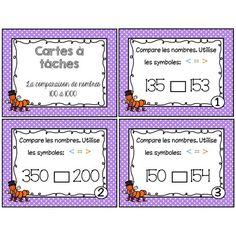 Cartes à tâches comparaison nombres 100 à 1000 Daily 3 Math, Math Blocks, Math Numbers, 4th Grade Math, Number Sense, Numeracy, Elementary Math, Math Resources, Teaching Math