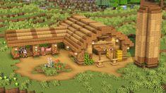 Minecraft Barn, Casa Medieval Minecraft, Minecraft Mansion, Minecraft Houses Survival, Minecraft Cottage, Easy Minecraft Houses, Minecraft Castle, Minecraft Plans, Minecraft House Designs