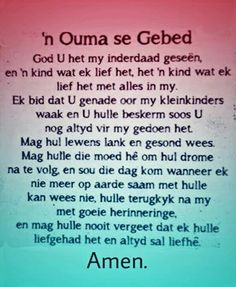 Klein kinders Ouma Prayer Images, Printable Prayers, Afrikaanse Quotes, Goeie More, Bible Prayers, Prayer Board, Bible Verses Quotes, Spiritual Inspiration, Raising Kids