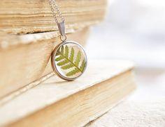 Kleine Runde Halskette mit echten Сommon Lady - Farn (entstanden Filix-Femina). Kleine grüne Farn bedeckt mit Kunstharz, die seine Schönheit für eine lange Zeit zu erhalten. Größe: 22 mm (7/8) im Durchmesser Hypoallergen Edelstahl-Kette mit Extender, so können Sie die Länge von 20 bis 24