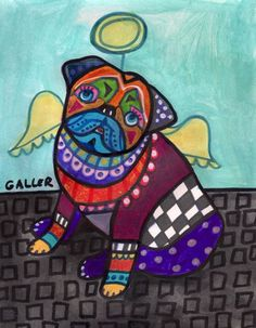"""Pug Dog Ange"" par Heather Galler"