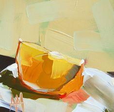 Orange Wedge no. 2 original still life fruit painting by Angela Moulton 5 x 5 inches on panel  prattcreekart