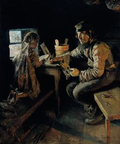 Akseli Gallen-Kallela Ensi opetus / First lesson - Finland Chur, Nostalgic Art, Merian, Russian Painting, Piet Mondrian, Scandinavian Art, Chiaroscuro, Illustrations, Art Education