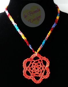 Crocheted Necklace with Beaded Flower Pendant - Masquerade