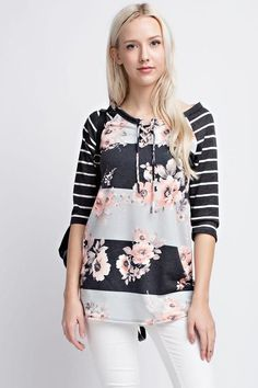 Striped and Floral 3/4 Sleeve Top