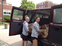 Eagles help pack and load food for Food for Families