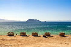 Palapas at Playa Santispac at Bahia Concepcion Baja California Sur Mexico - best beaches in Mexico