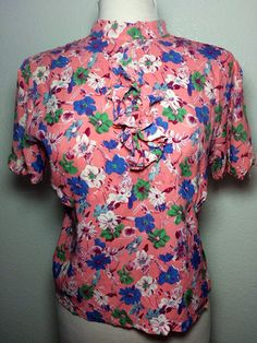 1940s Floral Rayon Blouse by MadVintageLA on Etsy