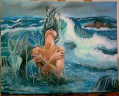 la ola by Rosana Pavesa, acrilico sobre tela