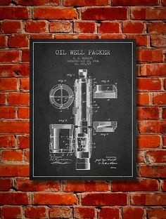 1904 Oil Well Packer Patent Canvas Print Wall by PatentsWallArt