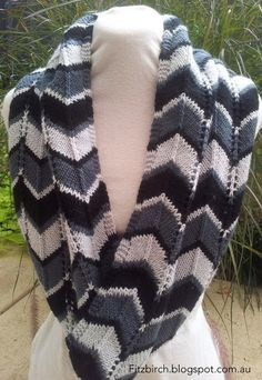 Learn how to knit a scarf that has style and flair with the Chevron Delight Infinity Scarf. Whether you're looking to learn a new knitting technique or want to brush up on an old one, this knit scarf pattern is perfect for you. Infinity Scarf Knitting Pattern, Chevron Infinity Scarves, Loom Knitting, Knitting Patterns Free, Knit Patterns, Free Knitting, Free Pattern, Chevron Crochet, Knit Or Crochet