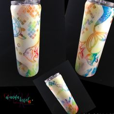 "Mermaid Tumbler! White glitter over ""peek-a-boo"" multi colored pastels! Finished with epoxy. Get yours now on my Etsy shop!"
