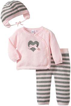 Petit Lem Baby Girls' 3 Piece Bunny Cardigan Set (Baby) - Pink/Gray - 0-3 Months