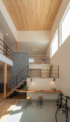 Loft Design, Home Room Design, Home Interior Design, Interior Architecture, House Design, Modern Japanese Interior, Japanese Modern House, Casa Top, 3d Home