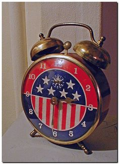 Patriotic Alarm Clock for decor. Tick Tock Clock, I See Stars, Home Of The Brave, Old Glory, God Bless America, Red White Blue, Fourth Of July, Alarm Clock, Father Time
