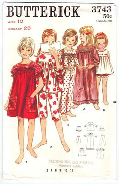 Butterick 3743 Vintage 60s Girls Pajamas, Baby Dolls, Nightgown & Bloomer Panties, Lingerie Sewing Pattern Size 10. $6.00, via Etsy.