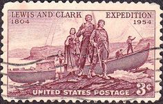 Stamp: Meriwether Lewis, William Clark, & Sacagawea Landing (United States of America) (Lewis and Clark Expedition Issue) Mi:US 1065 Old Stamps, Rare Stamps, Vintage Stamps, William Clark, Commemorative Stamps, Lewis And Clark, Stamp Collecting, United States, The Unit