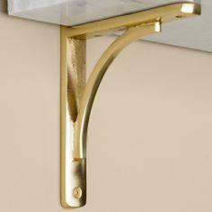 Rustic Brass Shelf Bracket | Signature Hardware $32.95 each