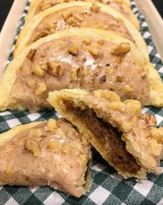 Flaky, homemade butter pastry filled with spiced pumpkin and topped with a spiced maple syrup glaze and walnuts