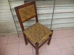 Silla De Cardo Y Madera Antigua Vintage - $ 650,00