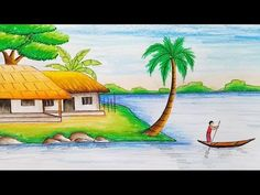 How to draw village scenery with oil pastel step by step Oil Pastel Colours, Oil Pastel Art, Oil Pastel Drawings, Colorful Drawings, Oil Pastels, Scenery Drawing For Kids, Art Drawings For Kids, Nature Drawing, Drawing Eyes