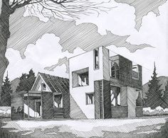 Architecture Architecture Concept Drawings, Architecture Sketchbook, Architecture Design, Architect Drawing, Building Sketch, Perspective Drawing, House Drawing, Urban Sketching, Sketch Design