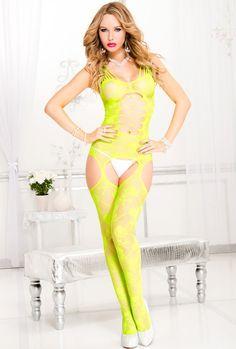 Neon green Cutout front suspender bodystocking
