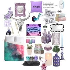 """Lavender Pastel Goth Bedroom Moodboard"" by prettyroses on Polyvore"