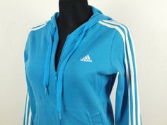 Adidas jacket, cotton hoodie jacket Vintage Adidas sky blue color three  white stripes Cotton Size UK 12 EUR 38 USA 8 Made in Turkey by  SillyPurpleZephyre on ... 70fcaac257