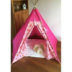 Tipi tent wigwam poppy birds roze