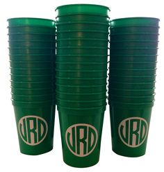 Set of 100 Plastic Cups with Monogram from Social Monograms - lots of color choices!