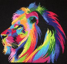 Rainbow Lion Cross Stitch - NEEDLEWORK - I cross stitched this lion for my father for Father's Day. Perler Bead Art, Perler Beads, Cross Stitch Charts, Cross Stitch Embroidery, Rainbow Lion, Pixel Art Grid, Lions, Stitch Patterns, Needlework