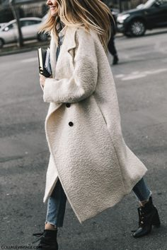 Floor length maxi wool coat  Street Style Paris Couture IV | cream white trench oversize coat
