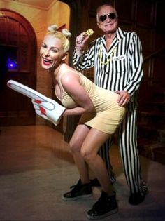 Hugh Hefner and Wife Crystal Dress as Robin Thicke and MileyCyrus