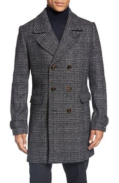 Ted Baker London Glen Plaid Double Breasted Coat available at Sneakers Fashion Outfits, Fall Fashion Outfits, Men's Fashion, Winter Outfits, Best Mens Winter Coats, Custom Shirt Maker, Mens Fur Collar Coat, Plaid Coat, Wool Coat